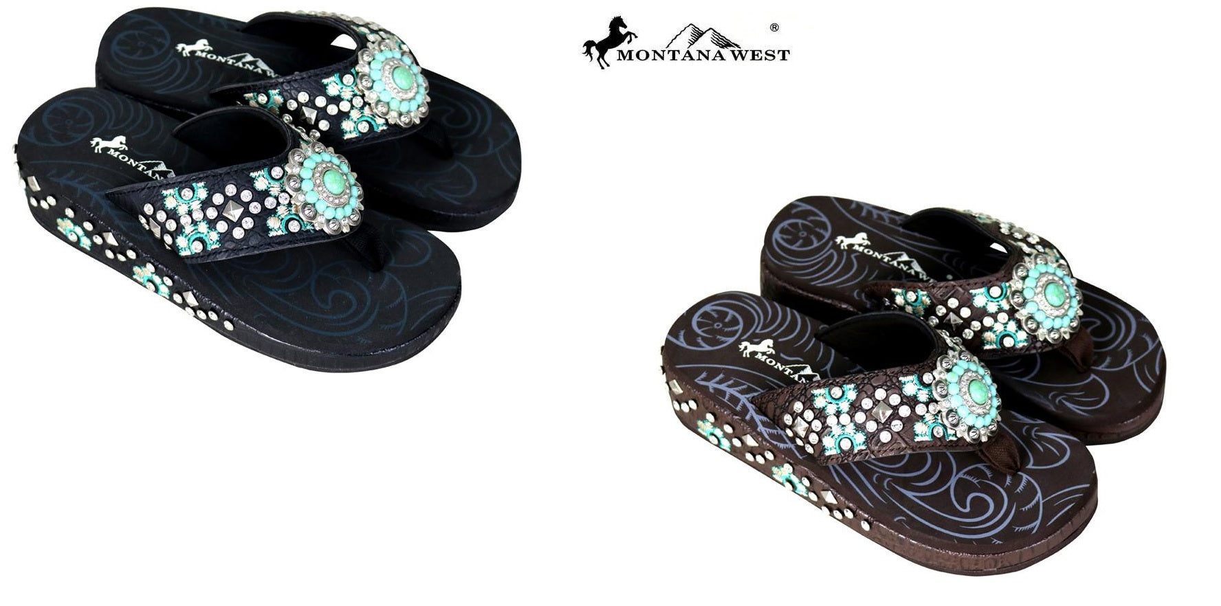 b595edfec8c8 Montana west embroidered aztec turquoise concho western flip flops brown or  black jpg 1776x882 Turquoise western