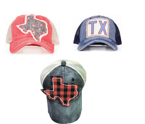 Southern Junkie High Ponytail Bun Texas Baseball Vented Hat Cap Cheetah Rose or Blue Plaid
