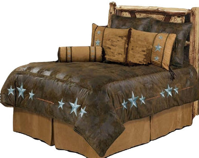 Western Cabin Country Rustic Bedding Decor Comforter Set Brown Triple Star Sheet Option