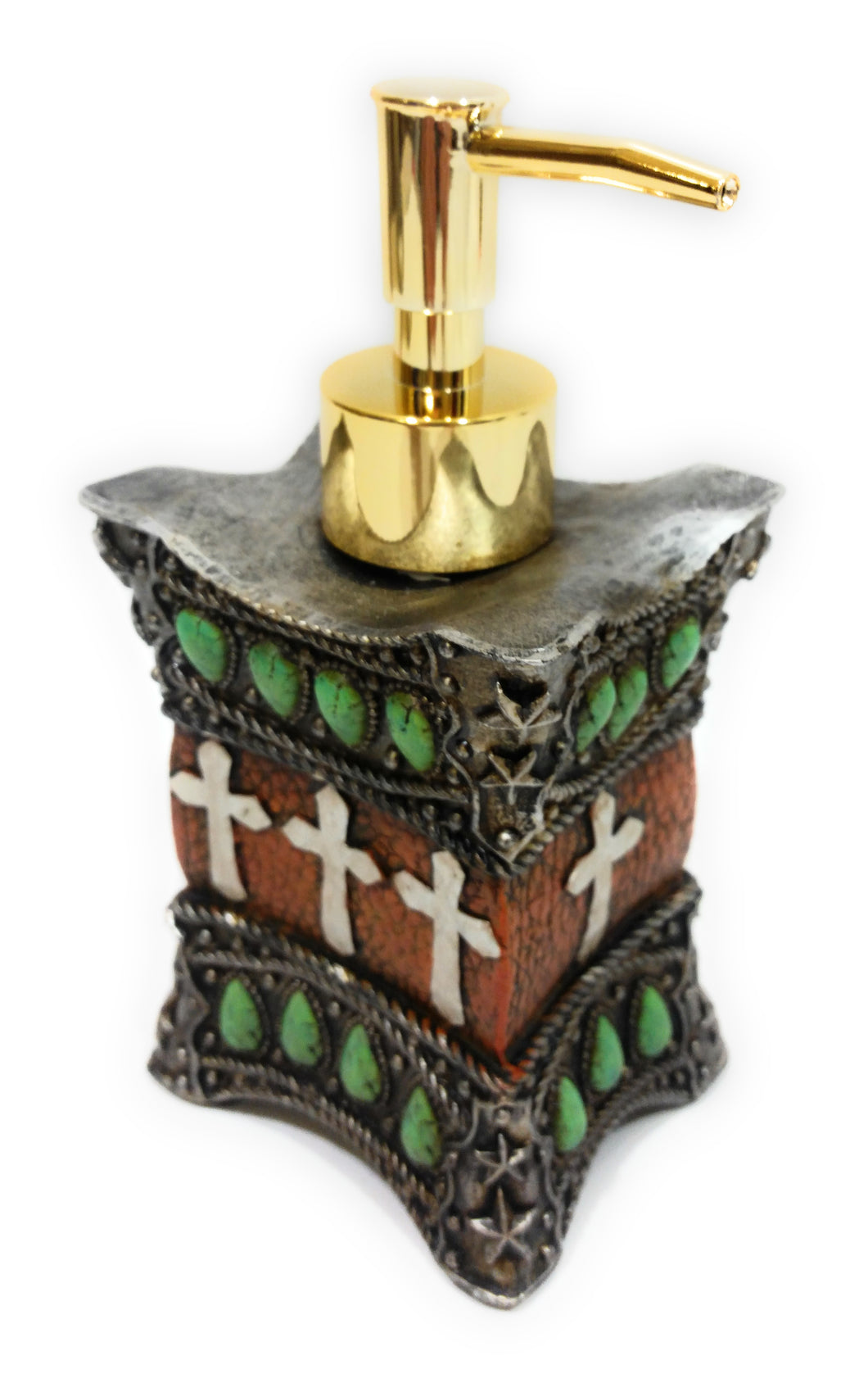 Bathroom Soap Dispenser Cross Western Lotion Pump Turquoise Brown Montana West