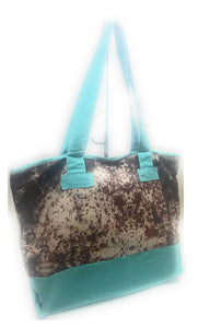 Crazy Train Cow Print Shopping Tote Beach Bag Large Purse Turquoise Blue Brown