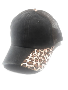 Ponytail Serape or Leopard Baseball Cap Aztec Cheetah Vented Mesh Trucker Dad Hat