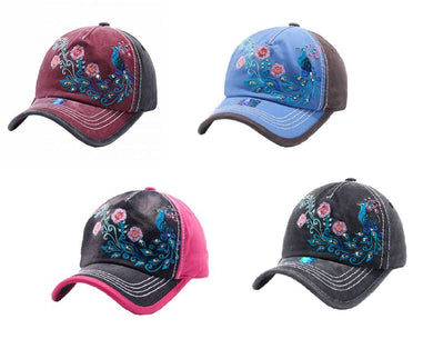 Adjustable Distressed Vintage Western Baseball Cap Hat Peacock Flower