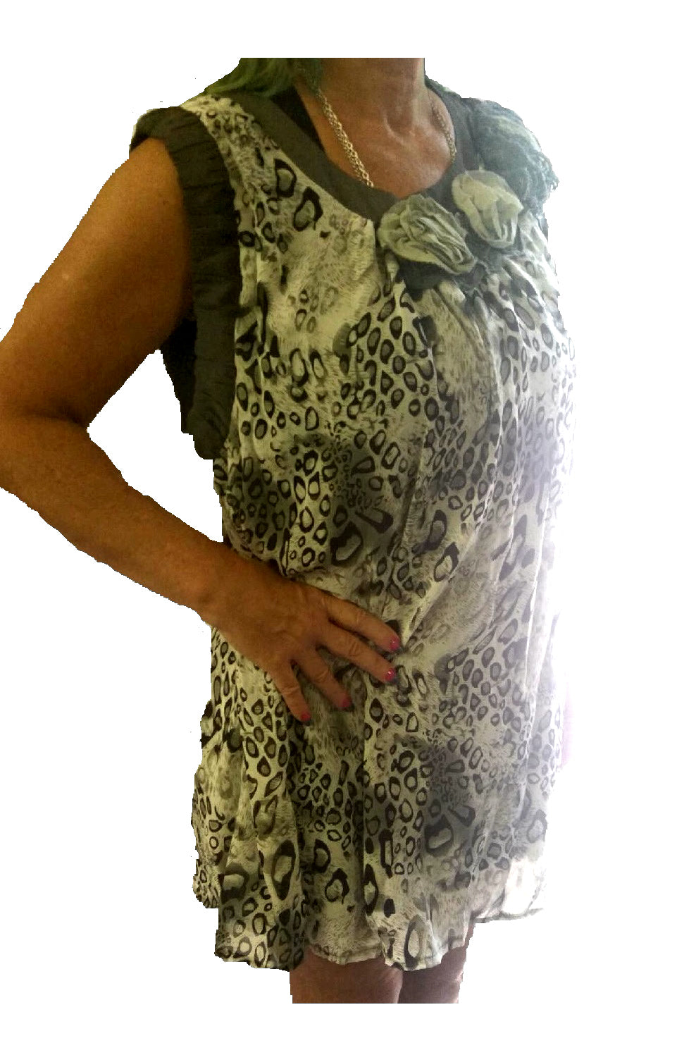 Lady Noiz Leopard Cheetah Sleeveless Flower Tunic Shirt Top Plus Dress Black