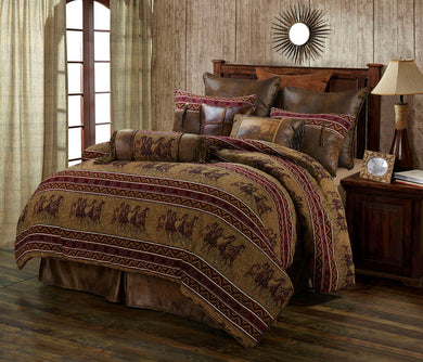 Western Cabin Country Bedding Decor Comforter Set Running Horse Equestrian