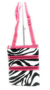 Girls Womens Messenger Cross Body Bag Hipster Purse Pink Black Damask r Zebra