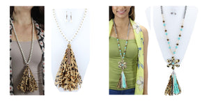 "32"" Aztec Hippy Tassel Necklace Earrings Set Cheetah Leopard Blessed or Flower"