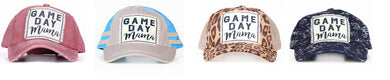 Sports Game Day Mama Football Baseball Hat Cap Leopard Cheetah Blue or Maroon