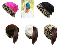 Bun Ponytail Beanie Tobaggon Hat Cheetah Leopard Pink Blue Ivory Black Brown