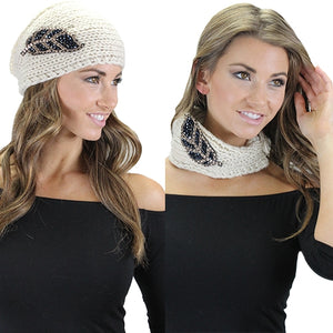 Winter Off white Headband Doubles as a Neck Scarf with Black Beaded Feathers