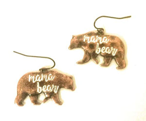 Mama Bear Fish Hook Earrings Bronze Copper Brown Womens Mother Jewelry