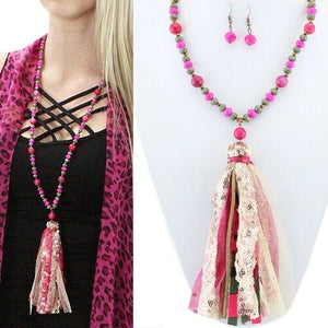 Tassel Necklace Earrings Set Leopard Cheetah Buffalo Plaid Camo Squash Flower