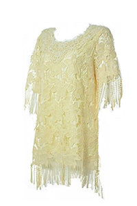 Lady Noiz Floral Flower Lace Short Sleeve Fringe Tunic Shirt Top Blouse Beige