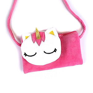 Minky Childrens Girls Kids Unicorn Messenger Hipster Bag Purse Blue or Pink