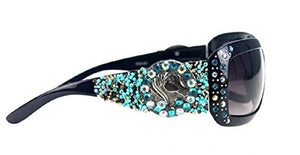Montana West Beaded Horse Cowgirl Western Sunglasses Black Turquoise