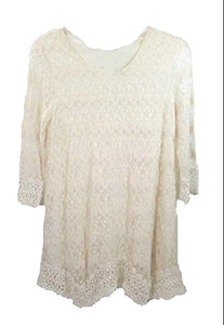 Lady Noiz Layered Lace Short Sleeve Ruffle Tunic Shirt Top Blouse Beige Off White