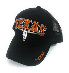 Adjustable Football Longhorn Steer Skull Vented Mens Womens Baseball Cap Hat Black