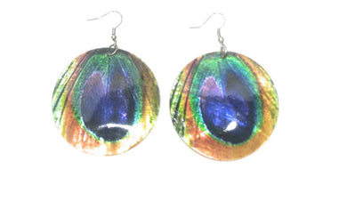Shell Peacock Feather Hippy Boho Jewelry Earrings Turquoise Blue Green 2.5