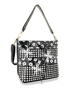 HX Party Bling Flower Floral Drawstring Rhinestone Messenger Bag Cross Body Purse Black