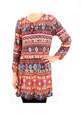 Lady Noiz Aztec Long Sleeve Tunic Hippy Drawstring Shirt Top Coral Blue