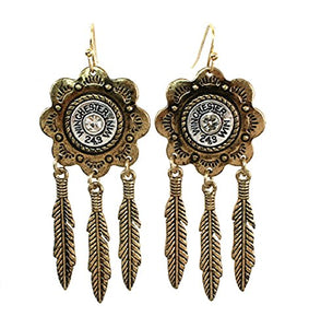 Faux Bullet Winchester Western Aztec Feather Earrings Silver Gold Tone
