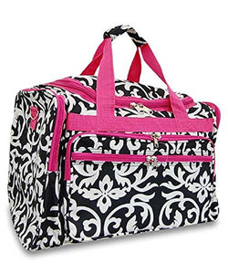 "19"" Duffel Travel Luggage School Gym Camp Dance Bag Floral Damask Pink or Black"
