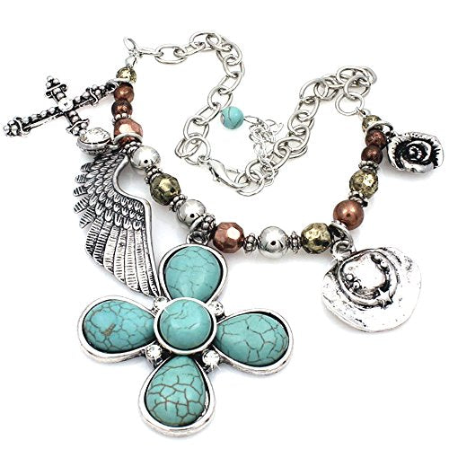 Western Rhinestone Turquoise Cross Wings Hat Rose Charms Chain Boot Anklet Jewelry