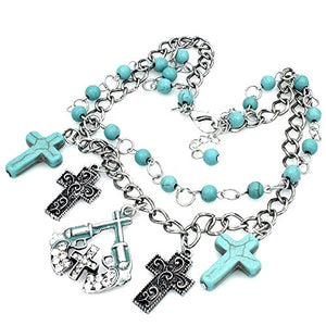 Western Rhinestone Turquoise Cross Gun Pistol Charms Chain Boot Anklet Jewelry