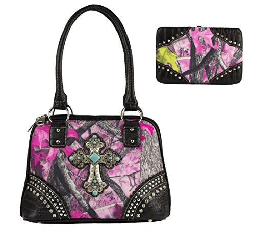 Sassy B Camo Turquoise Cross Concealed Carry Purse Shoulder Bag Wallet Set Pink Black