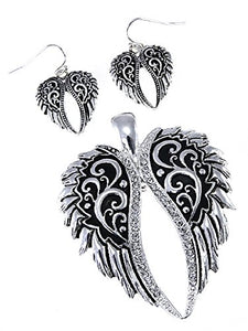 Wings Pendant Earrings Set Rhinestone or Skull or Gun or Silver Gold