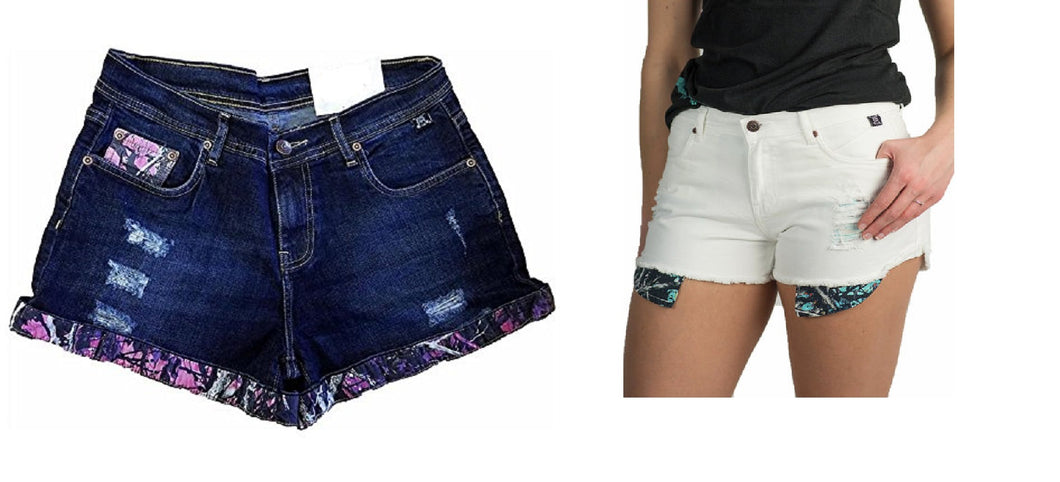 Moonshine Camo Muddy Girl or Serenity Denim Jean Distressed Shorts Blue White or Denim Purple Pink