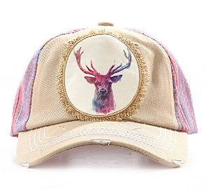 Southern Junkie Adjustable Western Ladies Animal Ag Cap Pink Aztec Deer