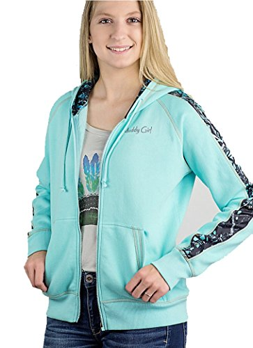 Muddy Girl Serenity Camo Zipper Coat Jacket Hoodie Sweatshirt Fleece Turquoise Blue