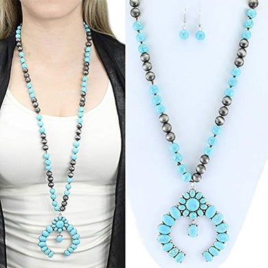 Squash Blossom Necklace Earrings Set Aztec Hippy Southwest Jewelry Turquoise Blue
