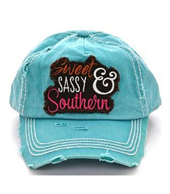 Sweet Sassy & Southern Baseball Vintage Distressed Cap Hat Turquoise Blue