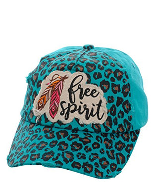Adjustable Free Spirit Aztec Hippy Feather Cheetah Leopard Cap Hat Turquoise Blue