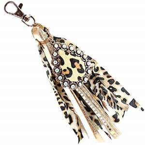 Lace Tassel Womens Ladies Bling Fancy Key Rings/Purse Charms Leopard Cheetah