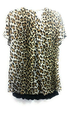 Lady Noiz Layered Leopard Cheetah Short Sleeve Ruffle Tunic Shirt Top Blouse 2 Piece