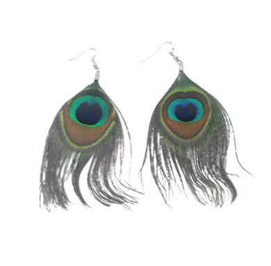 Peacock Feather Hippy Boho Jewelry Earrings Turquoise Blue Green 4.5