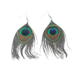 Peacock Feather Hippy Boho Jewelry Earrings Turquoise Blue Green 4.5""
