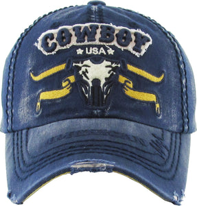 KB Adjustable American Cowboy USA Steer Bull Mens Cap Hat Navy Blue