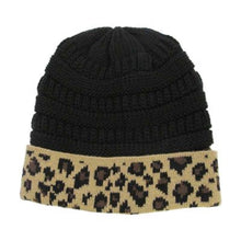 Winter Beanie Tobaggon Hat Cheetah Leopard Pink Blue Ivory Black Brown