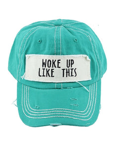 """Happy Camper"" Serape Aztec Tepee or"" Woke Up Like This"" Turquoise Blue Cap Hat"