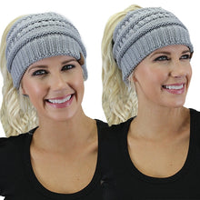 Soft Stretch Knit Bun Ponytail Beanie Tobaggon Skully Warm Winter Fall Hat