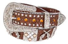 AGP Western Leather Rhinestone Gun Pistol Belt Brown or Black Extra Bling