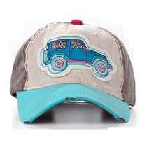 Jeep Distressed Womens Hat Cap Adjustable Turquoise Blue Brown or Pink Mesh