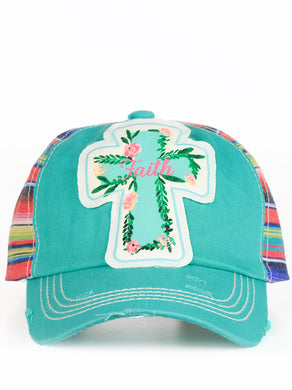 Faith Rose Cross Serape Aztec Baseball Cap Hat Turquoise Blue