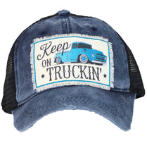 Keep on Truckin Farm Truck Vented Trucker High Ponytail Bun Hat Cap Blue Denim