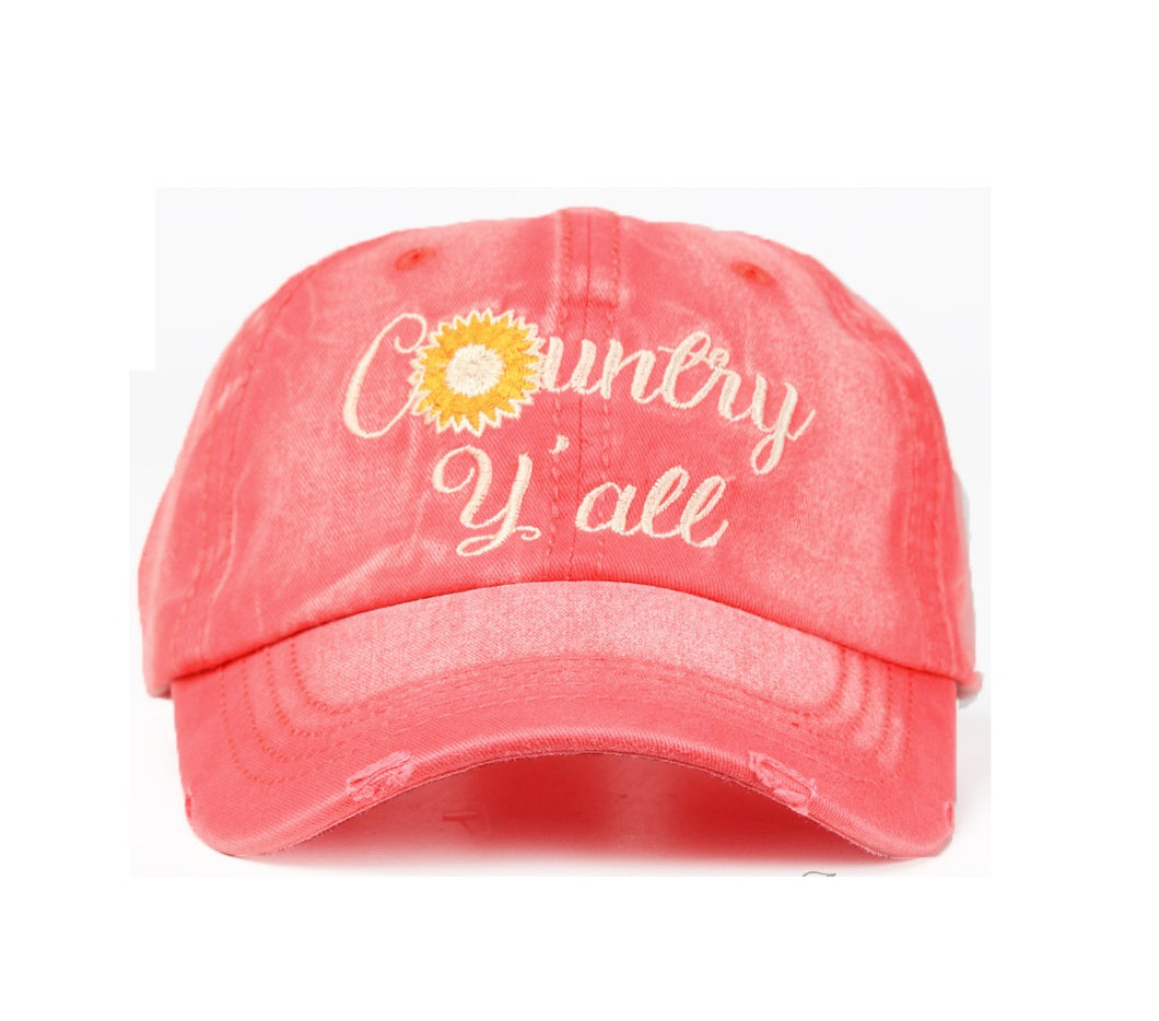 Ashlyn Rose Country Yall Daisy Flower Western Distressed Baseball Hat Cap Red Blue or Brown