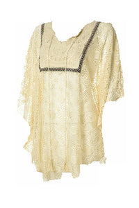 Lady Noiz Aztec Crochet Sheer Beach Cover Up Hippy Tunic Shirt Top Beige Brown